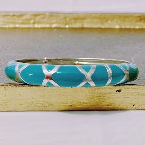 Turquoise Blue Silver Plated Vintage Cuff
